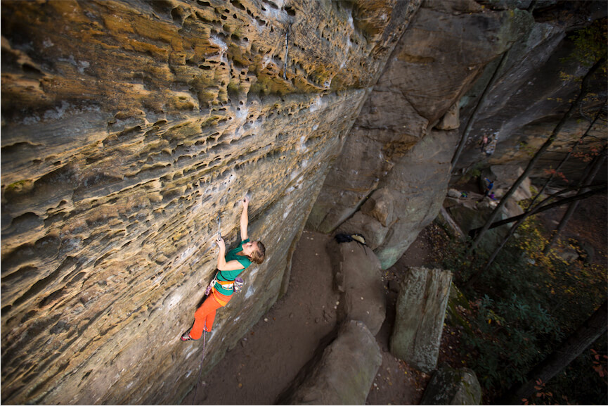 Photo Credit: John Wesely; @lightningsnaps; Area: RRG, KY; Climb: Believer 11b; Climber: Hannah Dwyer